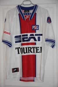 Réplique (modèle du commerce) maillot extérieur 1994-95, version manches courtes, collection http://maillotspsg.wordpress.com
