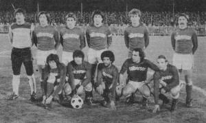Les joeurs du Stade Rennais, qui évoluent en Division 2, avant le coup d'envoi (archives Rouge Mémoire)