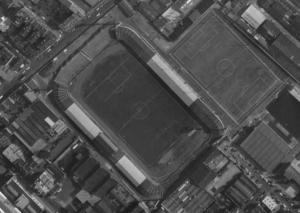 Vue aérienne du stade de Paris à Saint-Ouen