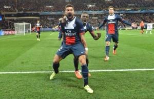 La joie d'Ezequiel Lavezzi après son superbe but
