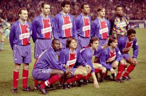 Les parisiens posant avant le début du match