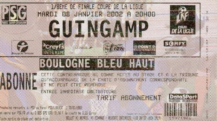 0102 psg guingamp cdl billet archives paris football - Billet psg lyon coupe de la ligue ...