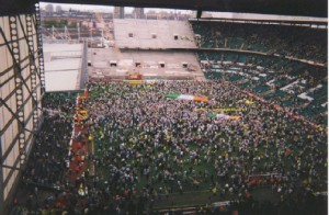 Le Celtic Park durant les travaux de 1994 à 1998.