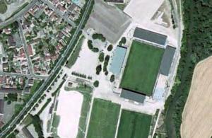 Vue aérienne du stade de l'Aube en travaux
