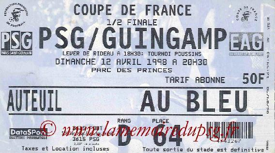Psg guingamp 1 0 12 04 98 coupe de france 97 98 archives paris football - Guingamp coupe de france ...