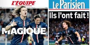 Les unes de l'Equipe et du Parisien, qui, encore 24 heures avant parlaient de crise et de remplacement de Laurent blanc pour trois matchs nuls...