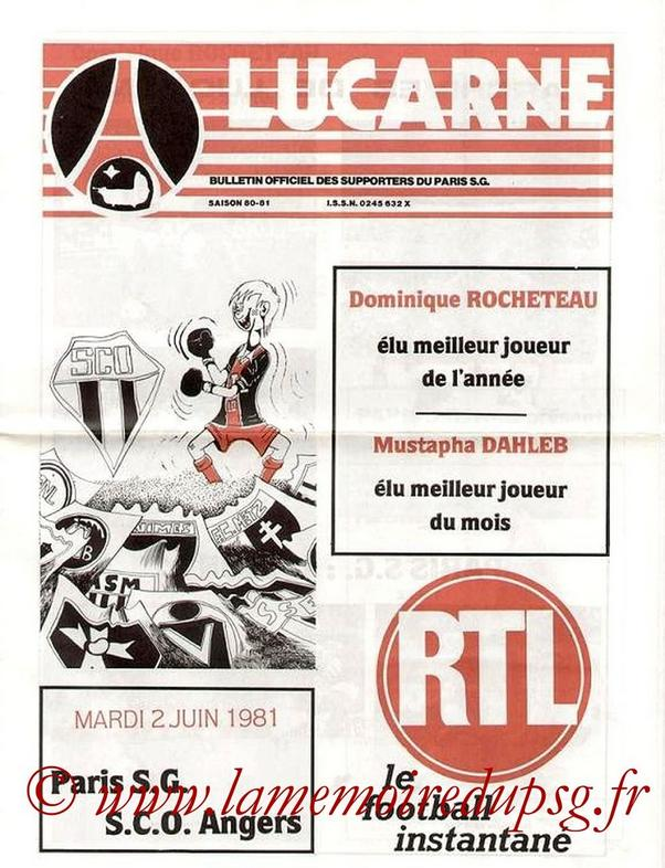 PSG – Angers 2-2, 02/06/81, Division 1 80-81 | Archives ...