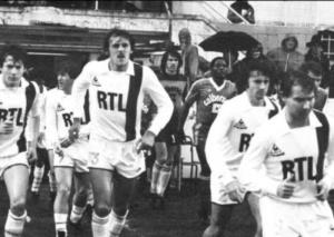 Luis Fernandez, Safet Susic, Pascal Zaremba, Philippe Col et Jean-Claude Lemoult à la sortie des vestiares