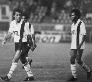 Manuel Abreu et Alain Couriol à la fin du match