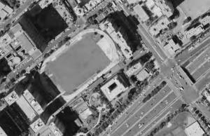 Vue aérienne du stade à Levallois