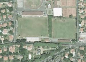 """Vue aérienne du Stade Léon-Larribeau, dit """"Parc d'Aguiléra"""""""