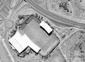 """Vue aérienne du Stade Jean-Ivoula, dit """"Stade de l'Est"""""""